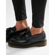 Dr Martens Adrian Black Leather Tassel Loafer Flat Shoes ($130) ❤ liked on Polyvore featuring shoes, loafers, black, slip on flats, black flats, dr martens shoes, black slip-on shoes and flat pumps