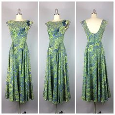 50s Green & Blue Floral Maxi Dress / 1950s by CheshireVintageShop
