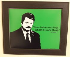 Ron Swanson Art Print w/ Quote by anINSTITUTE on Etsy