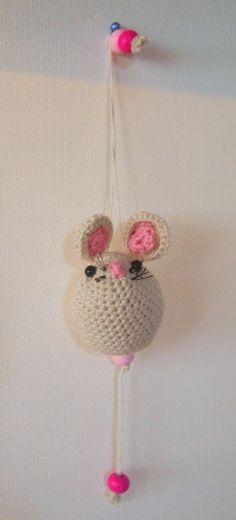 "Q-Tea Mouse ""Natural with Pink details""   Gehaakt   Q-Tea Shop"