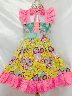 Girls Royal Ellie Halter Dress Size 4 Handmade; Everyday Use 100% cotton #Handmade #Everyday
