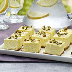 Diabetic Lemon Cheesecake Bites-Tart lemon lightens up this decadent low-carb dessert. made with fat free cream cheese and greek yogurt,these tangy bites let you indulge guilt free!