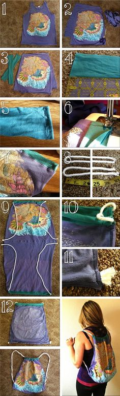 diy shirt, craft, sewing projects, gym bags, diy bags, old shirts, backpack, drawstring bags, old t shirts