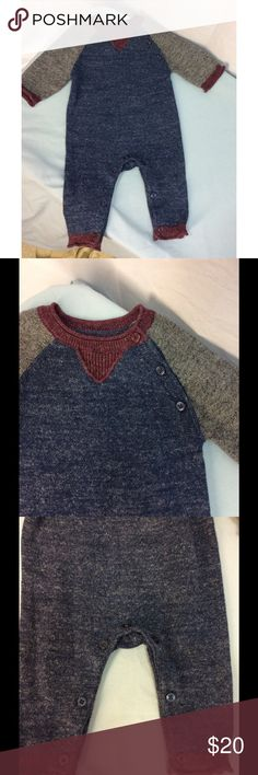 babyGap Boy's Marled Sweater One Piece Excellent condition, no defects. Made of cotton and polyester. This is a blue, gray and burgundy colors. Buttons from collar to arm on one side. Buttons instead of snaps on the bottom. Great for fall and winter. babyGap One Pieces