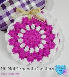 Nil Mal Crochet Coasters - free pattern, thanks so xox  ☆ ★   https://www.pinterest.com/peacefuldoves/