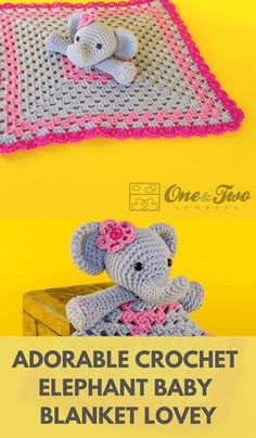Crochet Elephant Lovey Pattern - Crochet News - - Adorable pattern for a crochet elephant lovey that can be worked in any color you like. Also, tips for assembling the lovey and making crochet eyes. Crochet Elephant Pattern Free, Crochet Patterns Amigurumi, Elephant Applique, Crochet Eyes, Crochet Baby, Elephant Baby Blanket, Lovey Blanket, Bunny Blanket, Crochet Projects