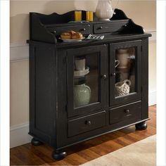Broyhill Attic Heirlooms Dining Cabinet Oak China Cabinets in Antique Black #Broyhill #Contemporary