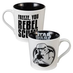 They say that Stormtroopers are the most heavily trained and fierce soldiers in the galaxy, yet they can't properly aim a blaster rifle.  Sip your coffee, tea or cocoa with our Empire-approved Star Wars Stormtrooper 12 oz. Ceramic Mug.  Don't worry about hitting every target because strength in numbers is the strategy.