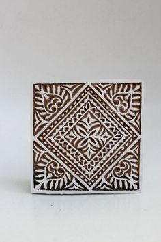 Hand carved wood textile india block stamp