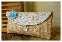 blue, burlap, lace, white, orange, gold clutch, rustic floral clutch, Spring Wedding Clutch, Bridesmaid Gift, Bridesmaid Clutch, Makeup Bag on Etsy, $19.00