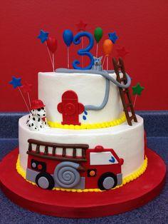 Fun fire truck cake!  Www.kristiscakery.com