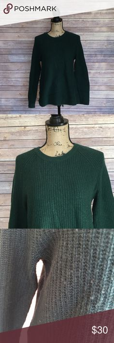 Madewell Sweater Size Small Madewell Sweater Merino Wool Green Leather Patches on elbows Lite Piling as pictured No other stains or damage Madewell Sweaters Crew & Scoop Necks