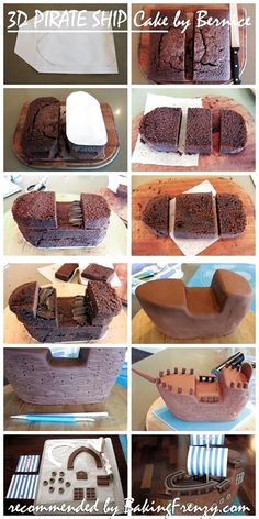 Pirate cake tutorial step by step picturesNoah's ark OR pirate ship! Cake Decorating Techniques, Cake Decorating Tutorials, Decorating Ideas, Pirate Ship Cakes, Pirate Boat Cake, Pirate Birthday Cake, 4th Birthday, Birthday Cakes, Cake Shapes