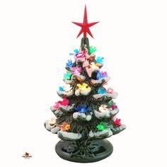 Holiday Doves Ceramic Christmas Tree with Snow Tips 8 1/2 Inches Tall Color Bird Lights Green Base Choose Star Color American Made