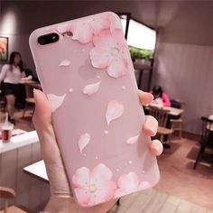 Cherry Petals 3D Relief Silicone Case For Iphone Lace Leaves Back Cover Floral Iphone Case, Iphone 7 Cases, Iphone 8 Plus, Shell, Silicone Phone Case, Plus 8, Iphone Models, Lady, Peach