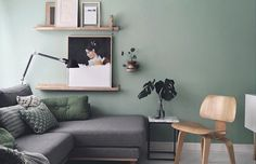 The inspiring home and studio of Maaike Koster (my scandinavian home) - I'm so excited to share the beautiful home and studio of Dutch graphic designer & interior design - Living Room Green, Green Rooms, Living Room Modern, My Living Room, Home And Living, Living Room Designs, Dark Grey Sofa Living Room Ideas, Grey Living Room Ideas Colour Palettes, Living Room Artwork