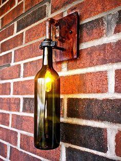Wine Bottle Light Lamp - Industrial Sconce - Interior - Olive Green Bottle by BSquaredInc on Etsy Beer Bottle Chandelier, Beer Bottle Lights, Diy Bottle Lamp, Reuse Wine Bottles, Lighted Wine Bottles, Colored Glass Bottles, Vintage Pendant Lighting, Rustic Lighting, Steampunk Lamp