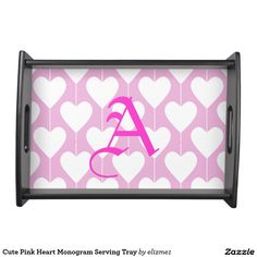 Cute Pink Heart Monogram Serving Tray Trendy pink and black for a serving tray with a custom monogram initial, perfect for Valentine's Day and every day.