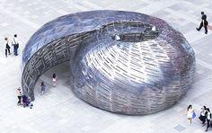 studioKCA builds aluminum sea shell for listening to NASA satellites orbiting earth