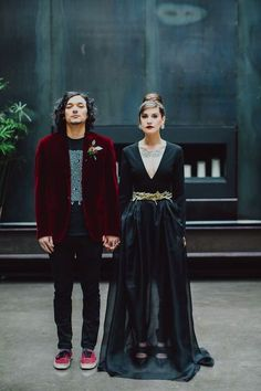 This NYC Bride Goes Femme-Noir (& We're Obsessed) #refinery29  http://www.refinery29.com/nyc-bride-black-wedding-dress#slide-11  Black and red and inked all over.