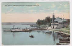 Conneaut Lake PA Boat Pavillion Docks at Exposition Park 1911