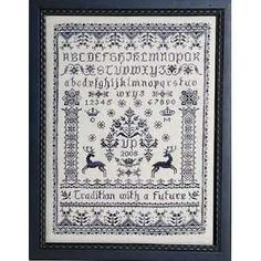 Free Cross Stitch Sampler Patterns | Blue Deer Sampler Cross Stitch Pattern: Arts, Crafts & Sewing