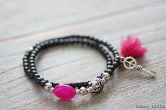 Wikkelarmbandje Ibiza grijs & roze