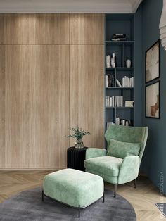 espace cosy chambre bleue verte fauteuil velours espace lecture bibliothèque case sur-mesure Living Room Grey, Living Room Chairs, Modern Home Interior Design, Cozy Corner, Home Decor Bedroom, Bedroom Couch, Interior Inspiration, Sweet Home, Saint Pétersbourg