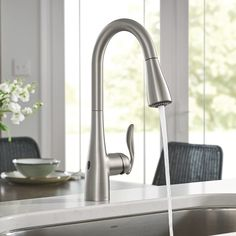 Moen 7594EWSRS Arbor Motionsense Wave Sensor Touchless One-Handle Pulldown Kitchen Faucet Featuring Power Clean , Spot Resist Stainless.  Power Clean: Power Clean spray technology provides 50 percent more spray power versus most of our pulldown and pull out faucets without the Power Clean technology Retractable: Equipped with the reflex system for smooth operation, easy movement and secure docking of the spray head ... Best Kitchen Faucets, Black Kitchen Faucets, Bar Faucets, Kitchen Faucets Pull Down, Bathroom Black, Power Clean, L Shaped Bathroom, Touchless Kitchen Faucet, Kohler Faucet