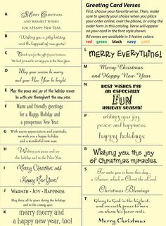 Christmas card sentiments, what to write inside your cards Noel Christmas, Winter Christmas, Christmas Christmas, Christmas Lights, Christmas Cards, Christmas Decorations, Christmas Sentiments, Christmas Verses, Christmas Card Wording