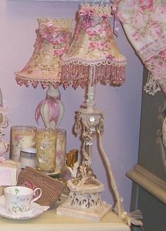 Shabby chic cottage style lamp decorative by raesdesignerlamps shabby chic cottage rose garden teacup and teapot roses lampshade oh so sweet aloadofball Image collections
