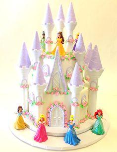 Princess Castle Cake Princess Wedding Cakes, Disney Princess Birthday Cakes, 4th Birthday Cakes, Cinderella Birthday, 4th Birthday Parties, Princess Cakes, Princess Theme, Fairy Castle Cake, Castle Cakes