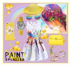 """""""Paint Splatter"""" by seadbeady ❤ liked on Polyvore featuring Manolo Blahnik, Salvatore Ferragamo, Kate Spade, Boohoo, Sun N' Sand, Olivia Pratt and paintsplatter"""