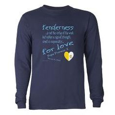 "Pope Francis Defines Tenderness Long Sleeve T-Shir Pope Francis I Mary and Jesus -  ""tenderness...is not the virtue of the weak but rather a sign of strength and a capacity...for love"". Vatican heart flag."