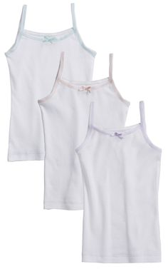Girls 3 Pack 100% Cotton Tagless White Cami Undershirts