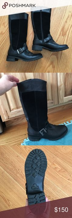 Timberland black suede and leather riding boots Black riding boots with silver buckle. Side zip Timberland Shoes Winter & Rain Boots