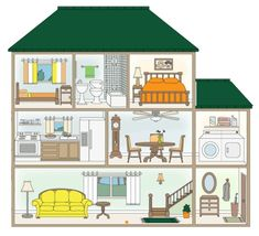 Spanish 1 Avancemos House Vocabulary List New level. Spanish Lesson Plans, Spanish Lessons, Learning Spanish, Paper Doll House, Paper Houses, Spanish 1, Spanish House, English Primary School, Inside A House