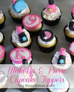 Make-Up & Purse Cupcake Toppers - click over for closeup pics by RoseBakes.com.