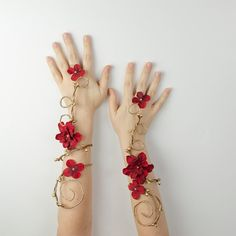 Gold and red fairy arm cuffs by Frecklesfairychest on Etsy