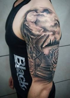 Stairway to heaven scenery tattoo by Chris Tziortzis. Roses. Lake. Sky. Moon. Staircase. Stairway