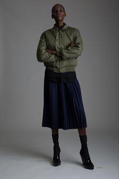 Vintage Field Manor Pleated Skirt and Military Bomber Jacket. Designer Clothing Dark Minimal Street Style Fashion
