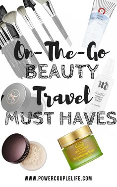 """Whether traveling by plane, train, or automobile, the art of """"getting there"""" can wreak havoc on our skin and hair.  You shouldn't have to sacrifice your beauty routine when carry-on space is tight. These innovative items save time and space—which means staying gorgeous on your next getaway will be a breeze.  Most of the products fit within TSA guidelines so you can create your very own custom travel kit. - www.powercouplelife.com"""