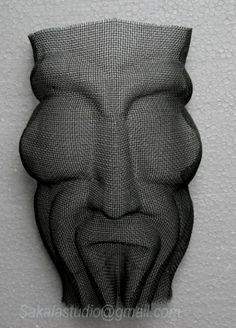 Wire mesh Wire sculpture by artist Raghavendra Hedge titled: 'mask 2 (Face Sculpture in Wire Mesh Wall Hung)' £1055 #sculpture #art