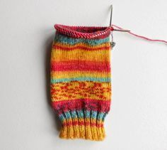 Beginner sock knitting - Winwick Mum Sockalong - leg section on short circular needle