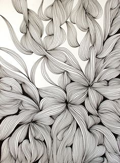 ARTFINDER: Entwined by Helen Wells - An intricate, intuitive and unique hand drawn pen and ink drawing on Fabriano art paper. It depicts a visually rich, illusionary organic landscape which cele...