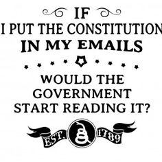 If I put the constitution in my emails, would the government start reading it? T-Shirt. Rebellious Patriot T-Shirt.