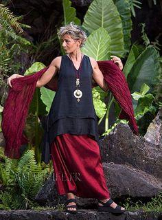 Rubis red taffeta silk evening outfit