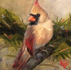 Krista Eaton Gallery of Original Fine Art Bird Paintings On Canvas, Bird Artwork, Animal Paintings, Bird Pictures, Pictures To Paint, Christmas Paintings, Christmas Art, Watercolor Bird, Vintage Birds