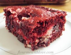 Red Velvet Earthquake Cake - replace chocolate chips with white chocolate chips and eliminate coconut