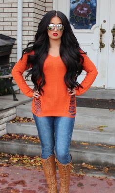 This whole look!  Dark hair & bright shirt